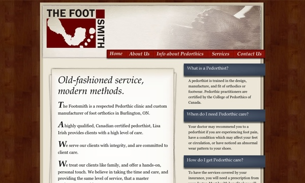 Image of the Foot Smith website