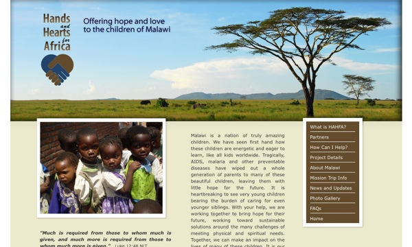 Image of Hands and Hearts for Africa website